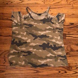 NWT Express Camo cold shoulder T-shirt.